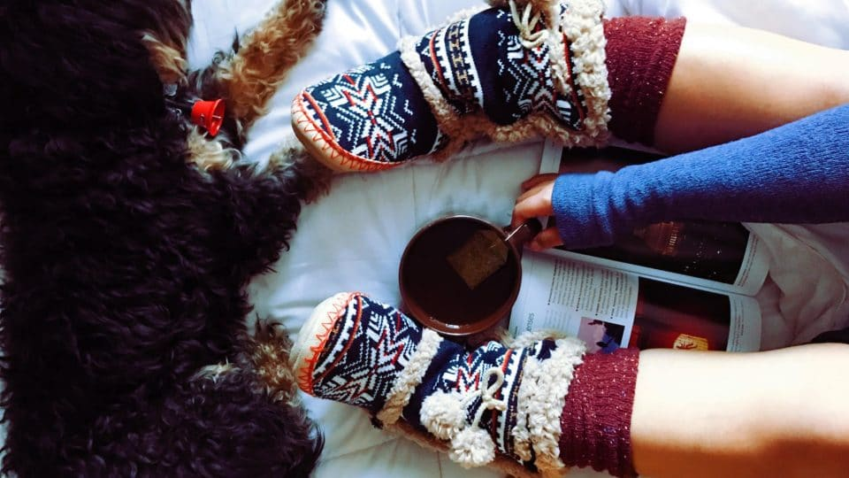 Legs wearing slipper boots with a cup of tea and a cozy dog