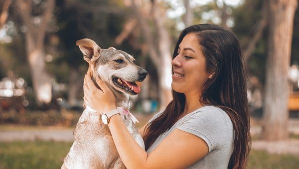 A young woman petting a smiling dog.