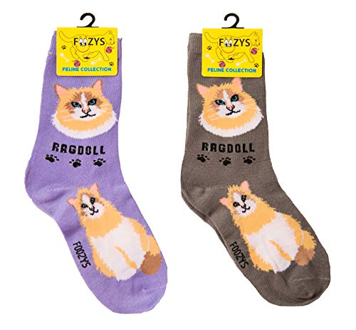 gift sock set (purple and brown) for Ragdoll cat lovers