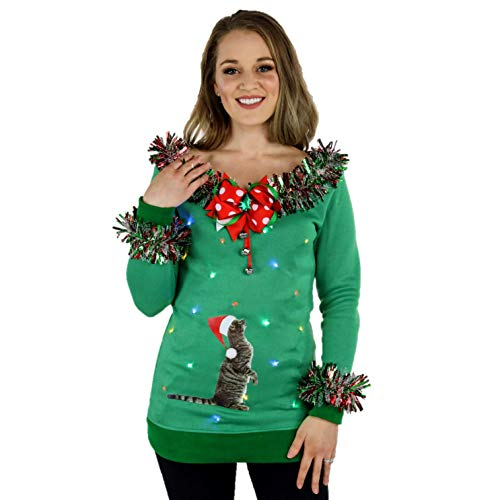 green sweater with lights and tinsel fringe