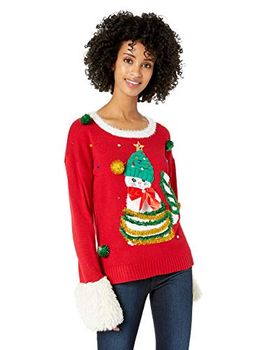 knit holiday sweater with festive cat
