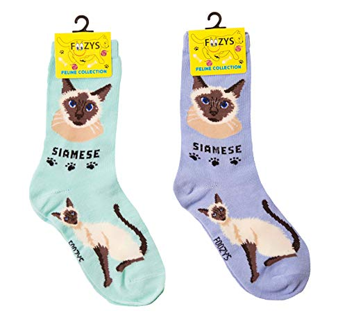 green and lavender Siamese cat themed socks