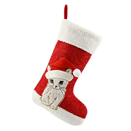 holiday stocking with kitten in Santa hat