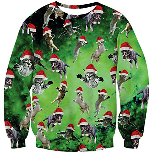 flying cats in Christmas hats sweatshirt