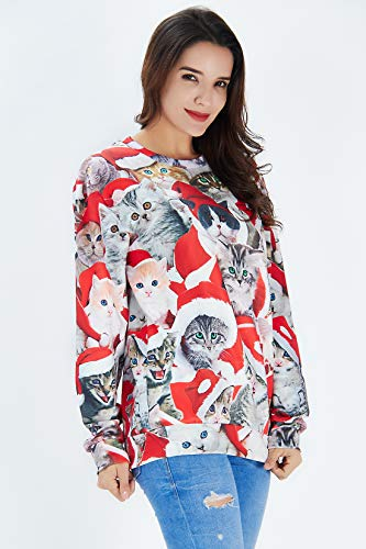 kittens wearing Santa hats print sweatshirt