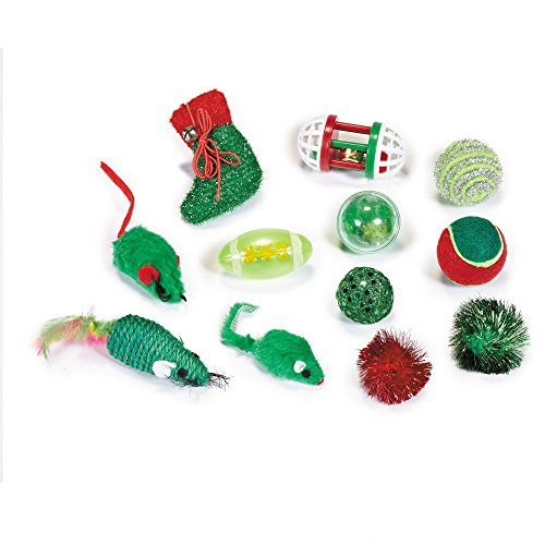 assorted Christmas cat toys