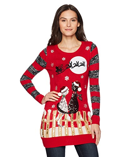 sequined red Christmas sweater with two cats in winter scene