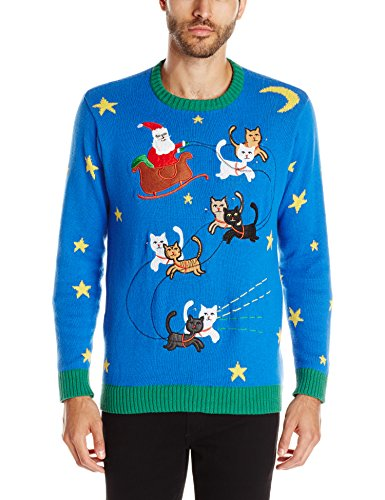 Christmas sweater with Santa led by kitty reindeer