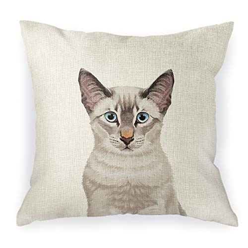throw pillow cover with Siamese cat