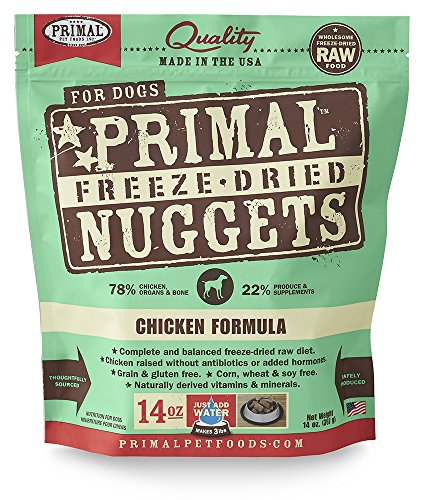 Bag of primal freeze-dried dog food nuggets