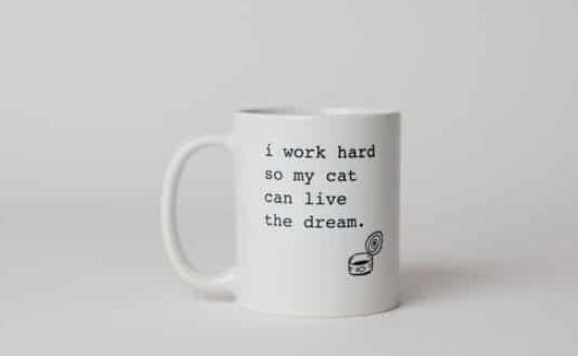 "A mug reading, ""I work hard so my cat can live the dream"""