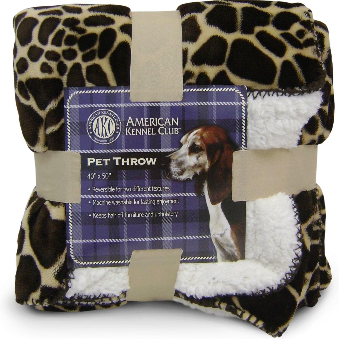American Kennel Club Animal Print Fleece Dog & Cat Blanket