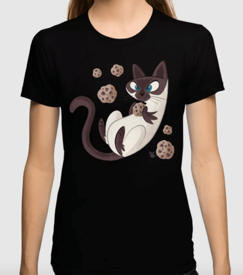 cartoon Siamese cat on black t-shirt