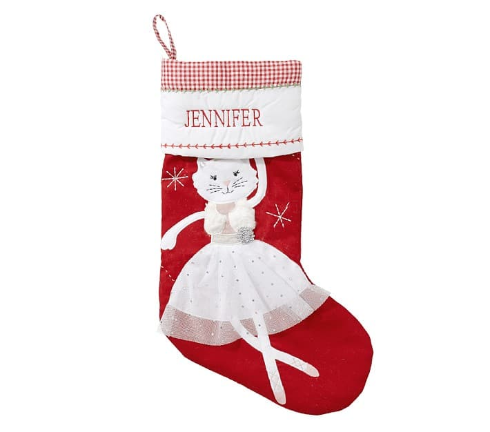 dancing personalized cat Christmas stocking