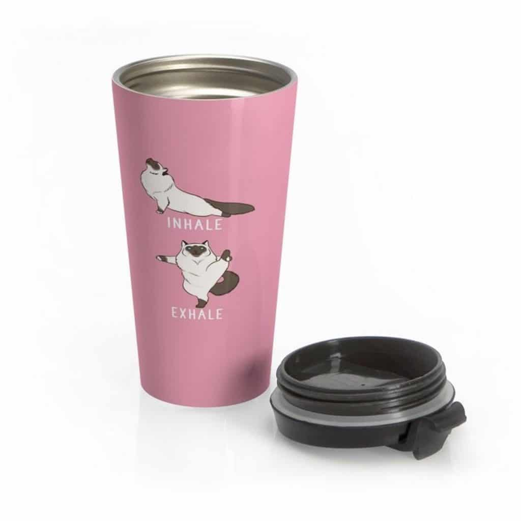 pink thermal coffee mug