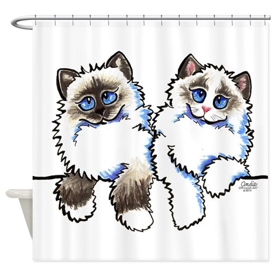 shower curtain for Ragdoll cat lovers