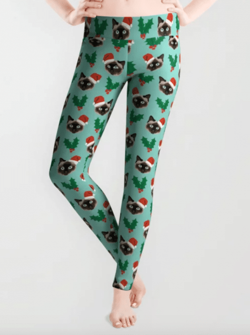 Christmas-themed Siamese cat print leggings
