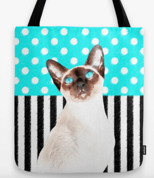 polka dot and stripes tote bag