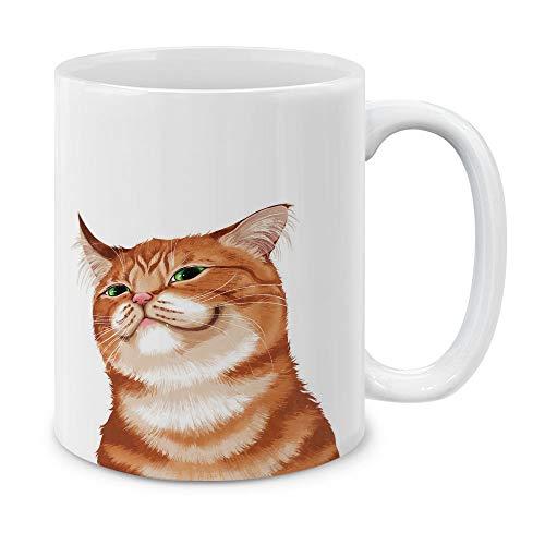mug with smiling orange cat on it