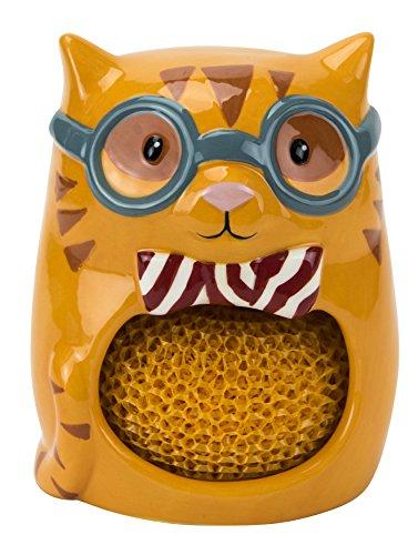 cat-shaped ceramic kitchen scrubby holder
