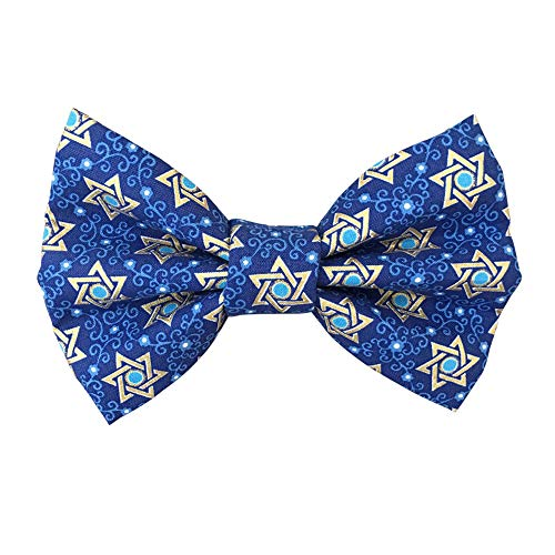 festive blue bow tie for cats with Star of David print