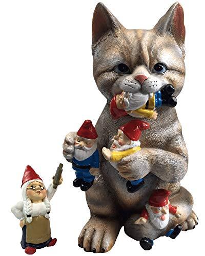 cat eating gnomes funny garden gift