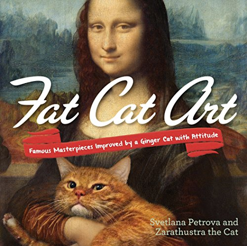 Book cover, Mona Lisa with a ginger cat in lap