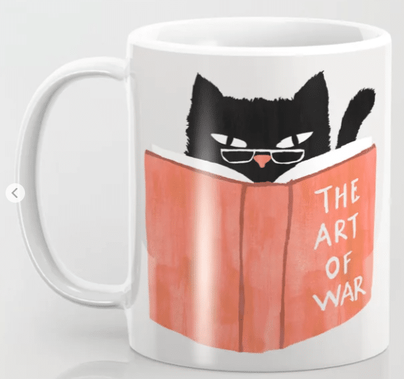 coffee mug with cat reading book image