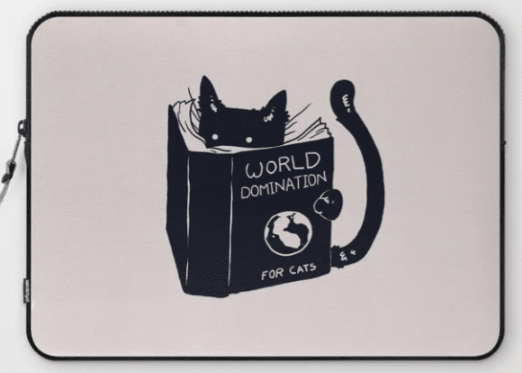 gift for cat lovers—laptop sleeve with illustration of cat reading book