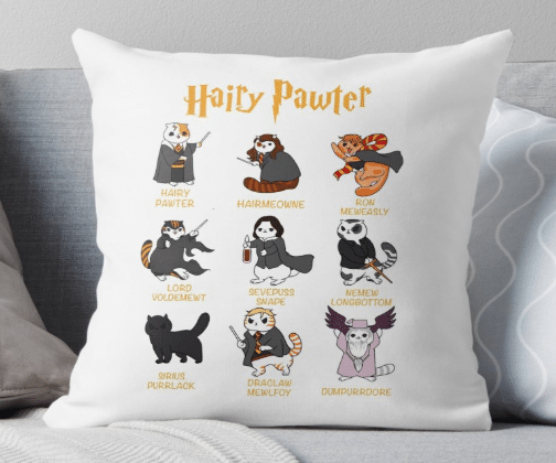 Harry Potter-themed throw pillow gift for cat lovers