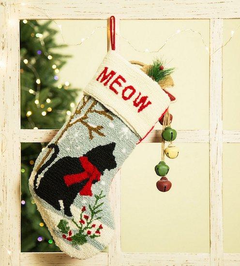 Hooked black cat stocking
