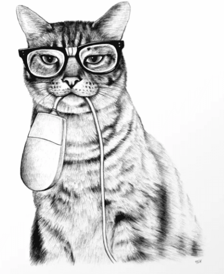 cat with computer mouse in mouth, art print for cat lovers