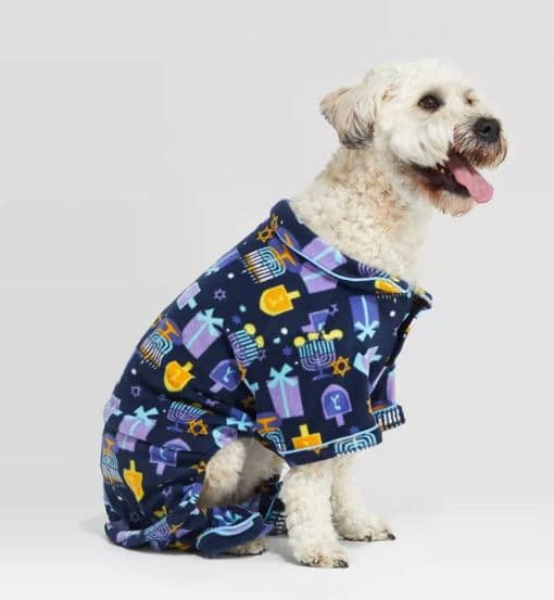 Hanukkah dog sweaters come in many cute designs like this one with soft blue fleece