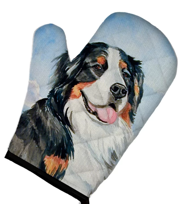 Bernese mountain dog gift oven mitt featuring a Berner dog
