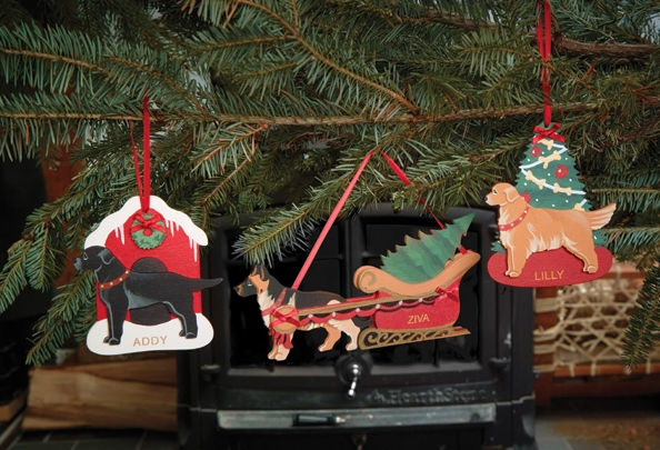 Bernese mountain dog gifts like these personalized ornaments