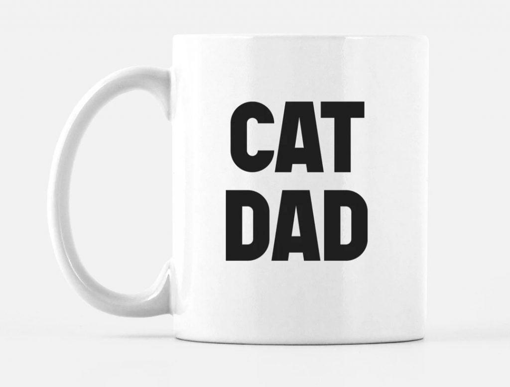 white ceramic cat dad mug