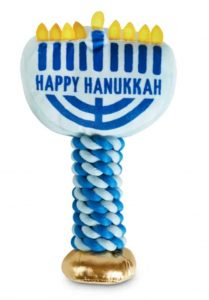 Holiday Tails plush and rope menorah dog toy