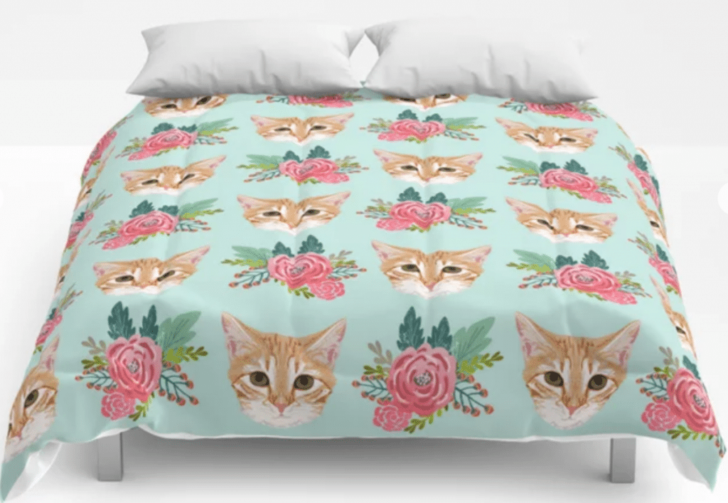 cat and flowers pastels comforter