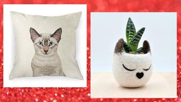 cat pillow and cat planter