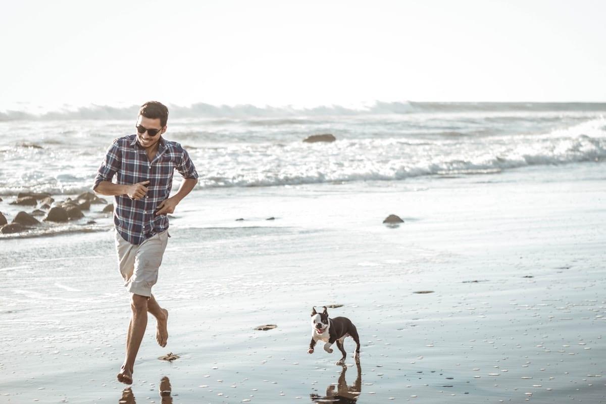 A man and a small dog running along a beach.