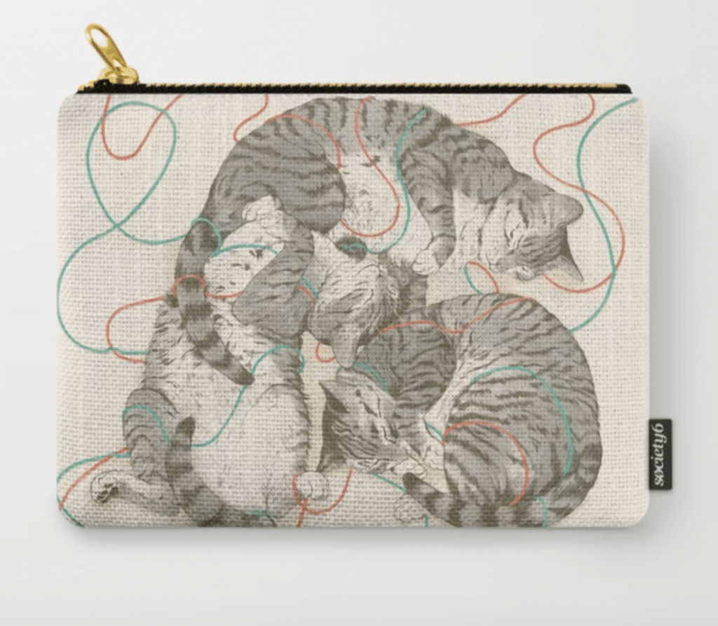 gray tabbies design carry all zip pouch