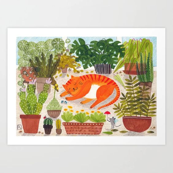 Ginger cat with potted plants art print