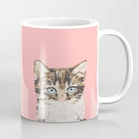pink mug with tabby cat for tabby lovers