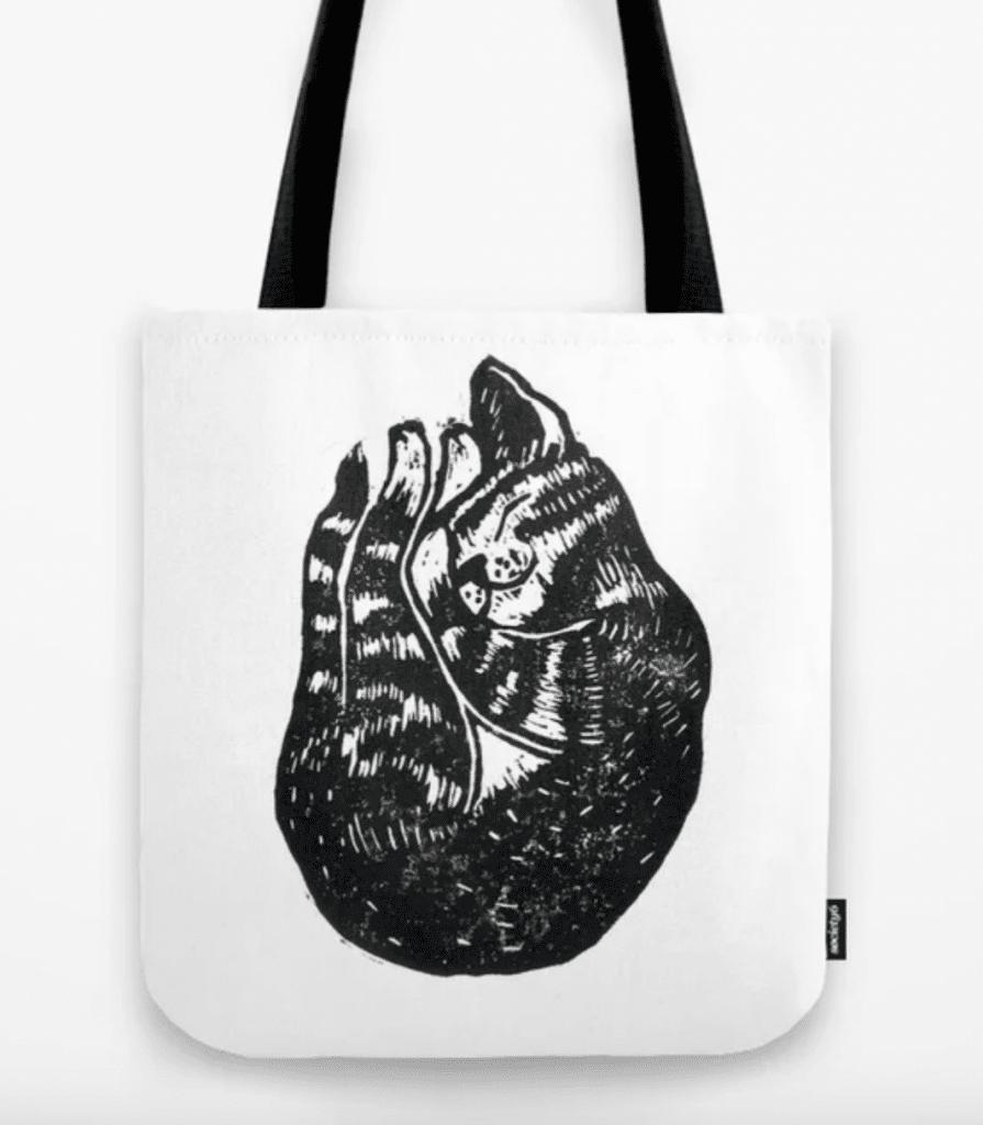 sleeping tabby print tote bag gift for tabby lovers