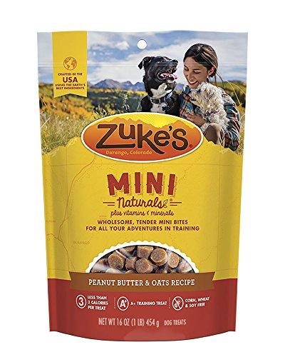bag of Zuke's peanut butter and oats mini puppy training treats