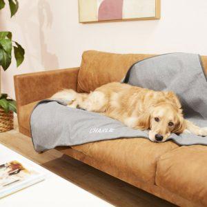 Personalized faux linen pet blanket