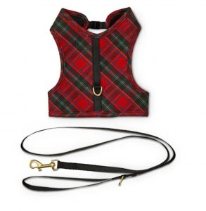 Holiday Tails 'Tis The Season Red Plaid Cat Harness & Leash