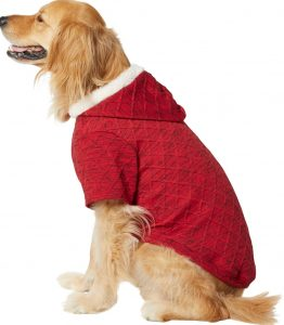 Frisco knit dog hoodie in red