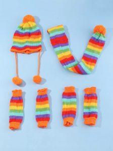 Rainbow Stripe knit hat, scarf, and leg warmers set