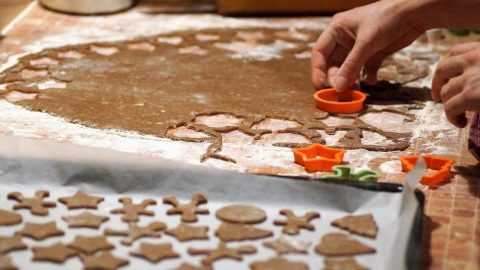 person cutting winter dog treats from dough